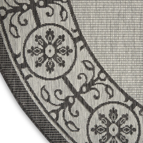 Garden Party Gray and Charcoal 5 Ft. 3 In. x 5 Ft. 3 In. Round Indoor/Outdoor Area Rug, image 5