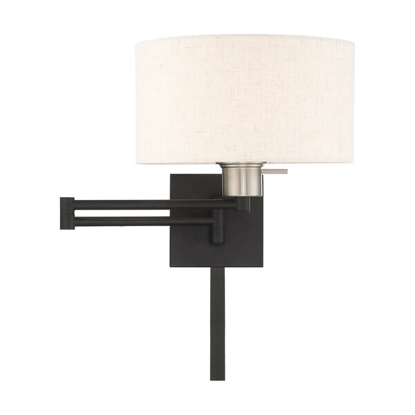 Swing Arm Wall Lamps Black 11-Inch One-Light Swing Arm Wall Lamp with Hand Crafted Oatmeal Hardback Shade, image 3