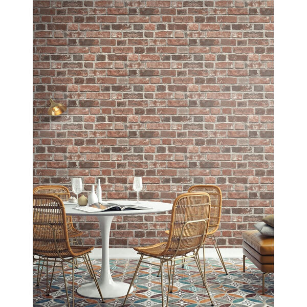 NextWall Distressed Red Brick Peel and Stick Wallpaper, image 1