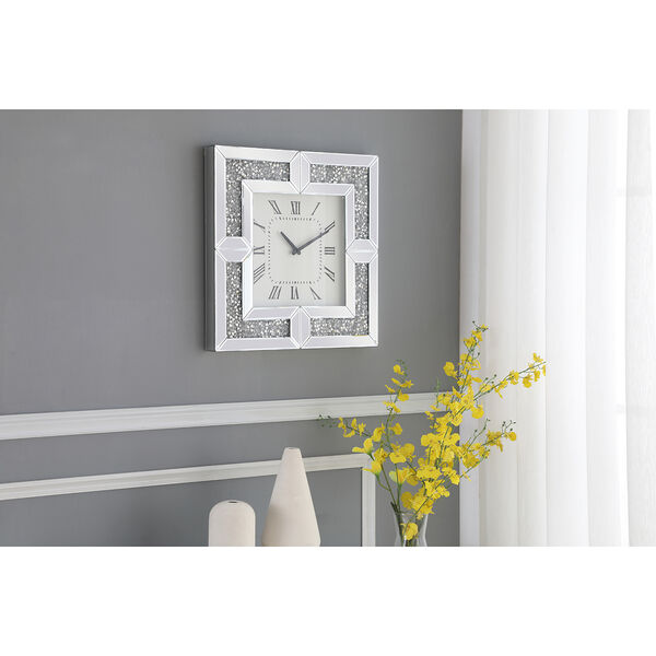 Modern Mirrored 10-Inch Crystal Wall Clock, image 1