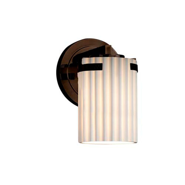 Limoges - Atlas Dark Bronze One-Light Wall Sconce with Cylinder Flat Rim Pleats Shade, image 1