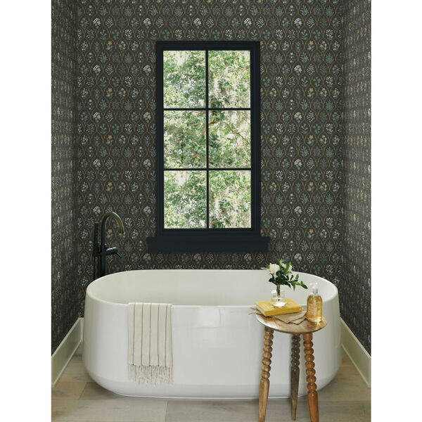 Rifle Paper Co. Black and Cream Hawthorne Wallpaper, image 1
