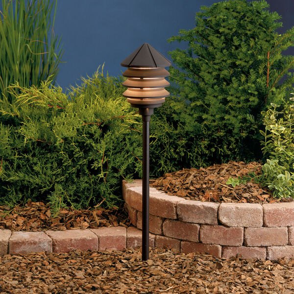 Six Groove Textured Architectural Bronze 9.5-Inch One-Light Landscape Tiered Path Light, image 1