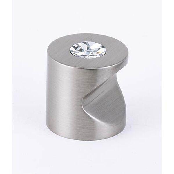 Contemporary Satin Nickel 1-Inch Crystal Knob, image 1