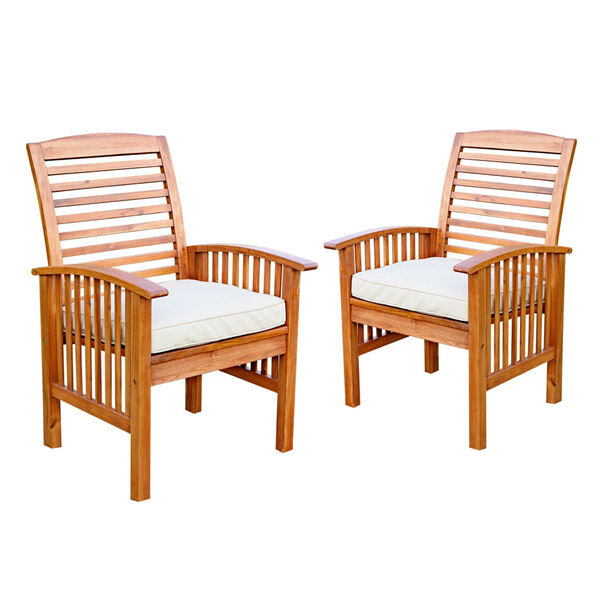 Brown Acacia Patio Chairs with Cushions (Set of 2), image 2