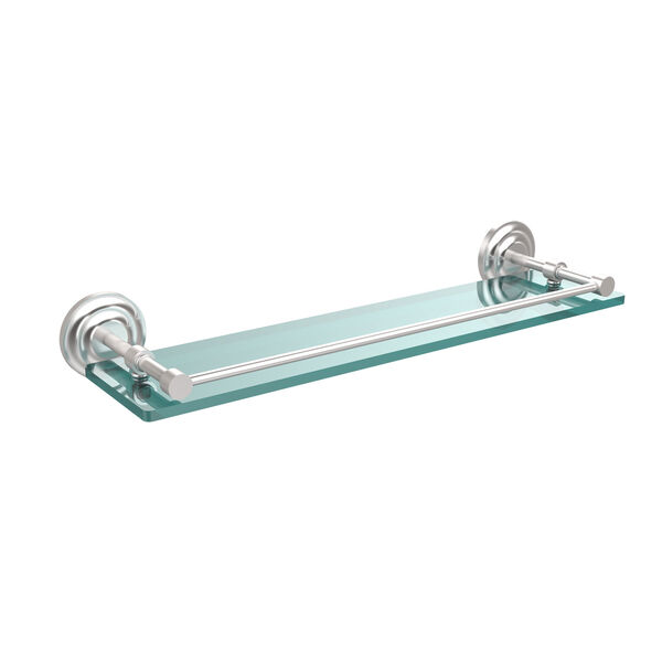 Que New 22 Inch Tempered Glass Shelf with Gallery Rail, Satin Chrome, image 1