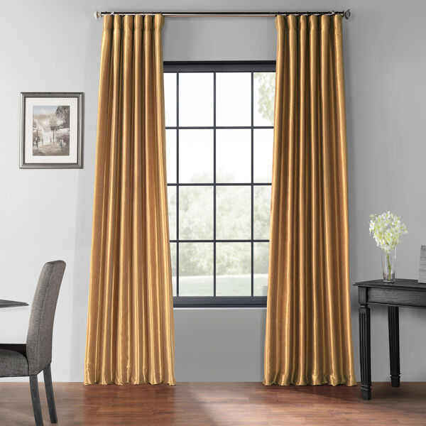 Flax Gold 50 x 84-Inch Blackout Vintage Textured Faux Dupioni Silk Curtain, image 1