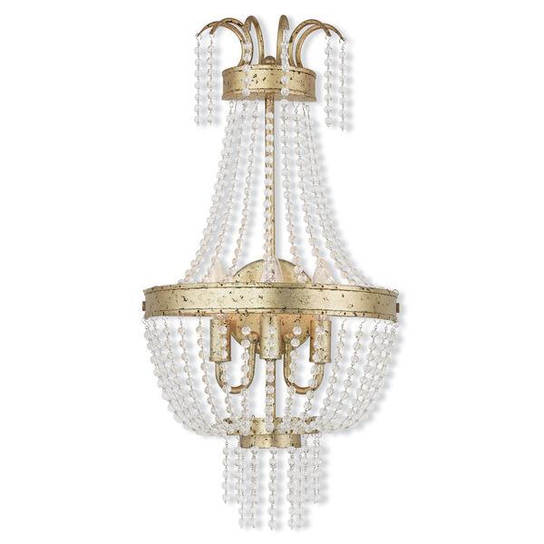 Valentina Hand Applied Winter Gold 13-Inch Three-Light Bath Sconce, image 1