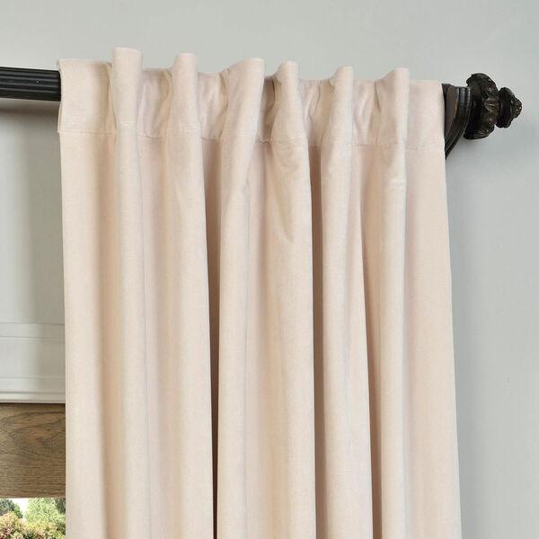 Alabaster Beige Blackout Velvet Pole Pocket Single Panel Curtain, 50 X 84, image 4