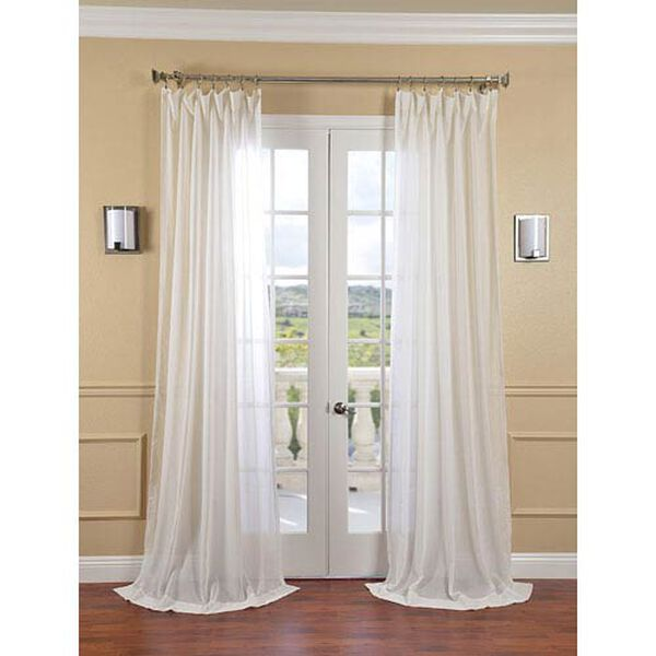 Gardenia Faux Linen Sheer Single Panel Curtain Panel, 50 X 108, image 1