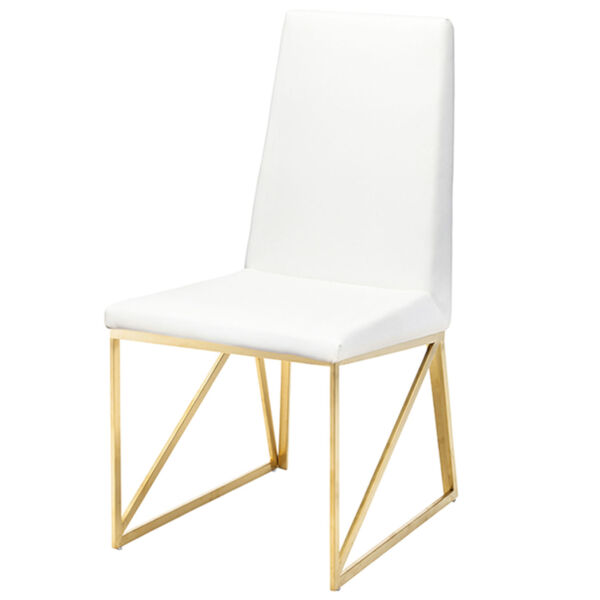 Caprice White and Gold Dining Chair, image 1