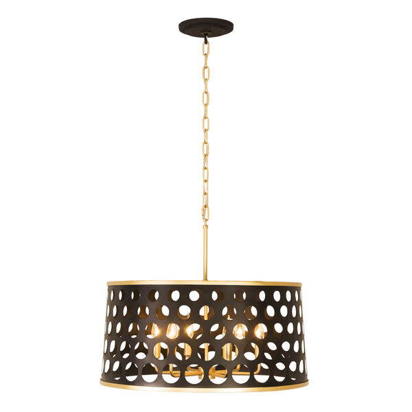 Bailey Matte Black French Gold 24-Inch Six-Light Pendant, image 5