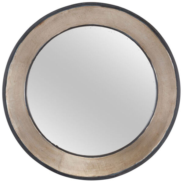 Ovallas Champagne Round Wood Frame Wall Mirror, image 2