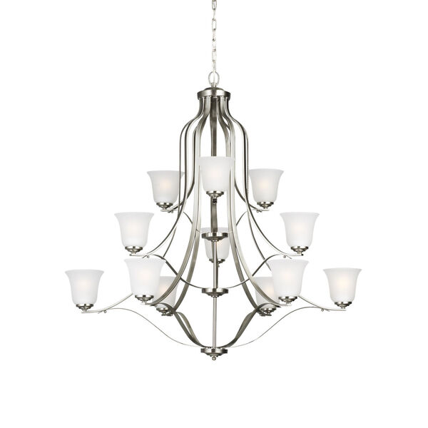 Emmons Brushed Nickel 12-Light Chandelier with Satin Etched Shade, image 2
