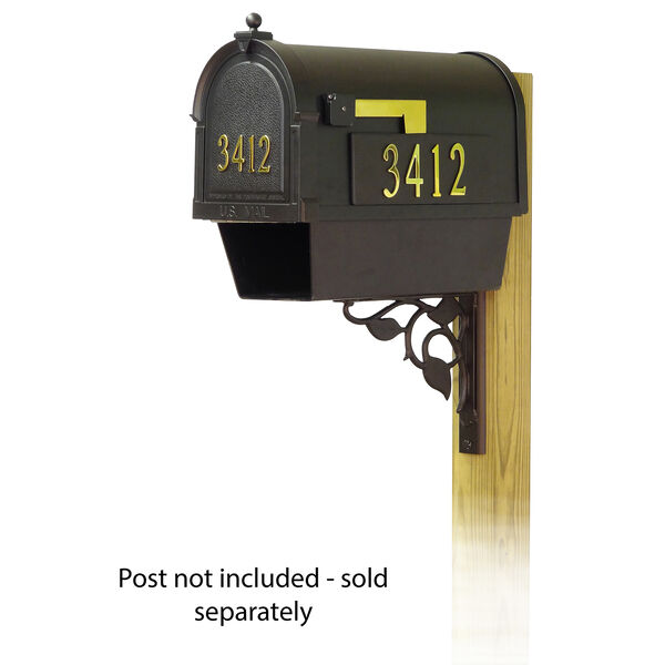 Curbside Black Mailbox Front and Side Address and Floral Front Single Mailbox Mounting Bracket, image 1