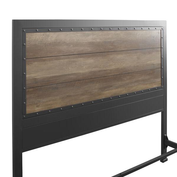 Queen Size Industrial Wood and Metal Bed - Rustic Oak, image 4
