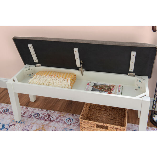Chloe Vanilla White Storage Bench, image 5